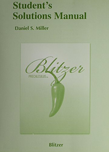 9780321575326: Student's Solutions Manual for Blitzer Precalculus, 4th Edition