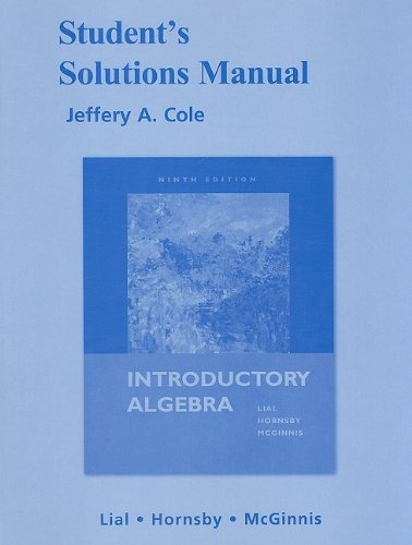 9780321576439: Student Solutions Manual for Introductory Algebra