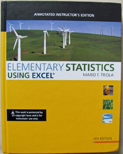 9780321577054: Elementary Statistics Using Excel, Annotated Instructor's Edition