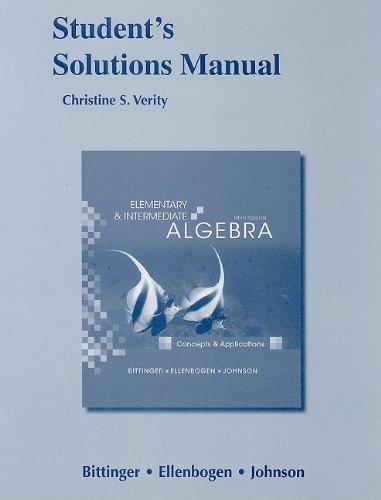 9780321586230: Student Solutions Manual for Elementary and Intermediate Algebra: Concepts and Applications