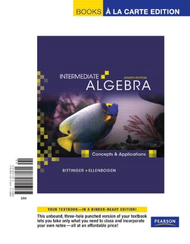 9780321588180: Intermediate Algebra: Concepts and Applications, Books a la Carte Edition (8th Edition)