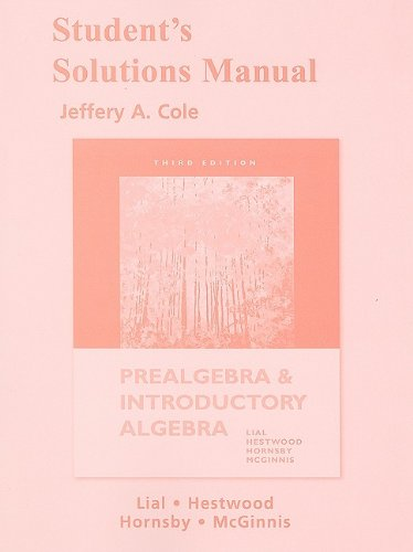 Student Solutions Manual for Prealgebra and Introductory: McGinnis, Terry, Lial,