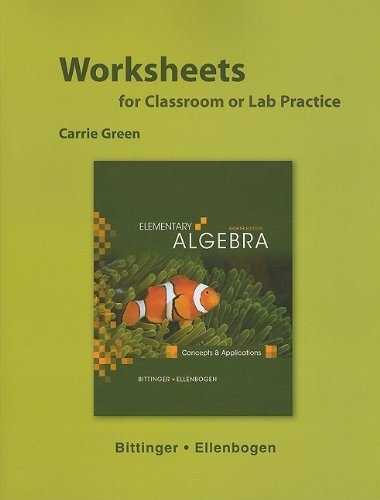 9780321599315: Worksheets for Elementary Algebra: Concepts and Applications