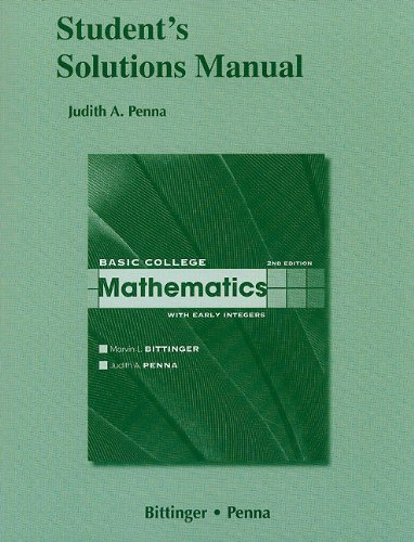 9780321605443: Student Solutions Manual for Basic College Mathematics with Early Integers