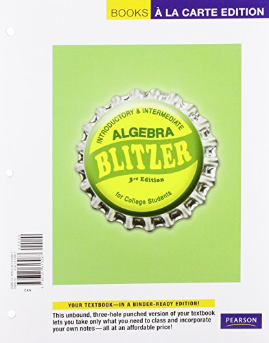 9780321613974: Introductory &Intermediate Algebra for College Students, a La Carte Plus (3rd Edition)