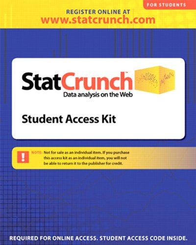 9780321621122: Statcrunch 6 Month Access Code: Data Analysis on the Web