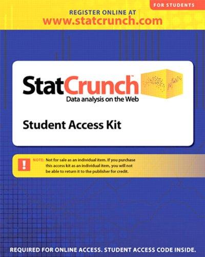 StatCrunch 12-month Standalone Access Card Format: PrintedAccessCode: West, Webster