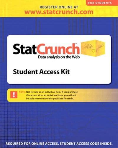 9780321621467: statCrunch -- Standalone Access Card (12-month access)