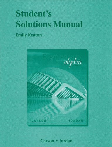 9780321622815: Student Solutions Manual for Elementary Algebra