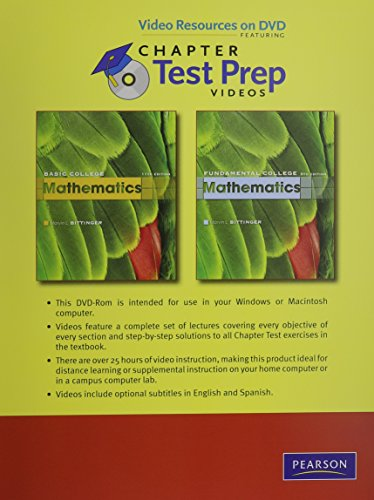 9780321627292: Video Resources on DVD with Chapter Test Prep Videos for Basic College Mathematics