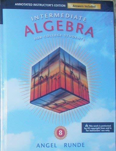 9780321628763: Intermediate Algebra for College Students