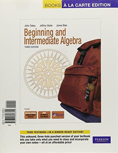 9780321628824: Beginning &Intermediate Algebra, Books a la Carte Edition (3rd Edition)