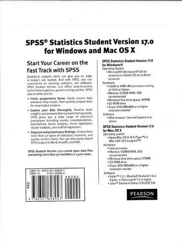 9780321628947: SPSS Statistics Student Verison 17.0 For Windows and Mac OS X