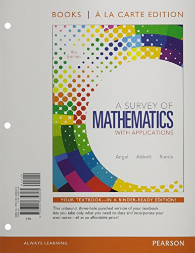 9780321639325: Survey of Mathematics with Applications, A, Books a la Carte Edition (9th Edition)