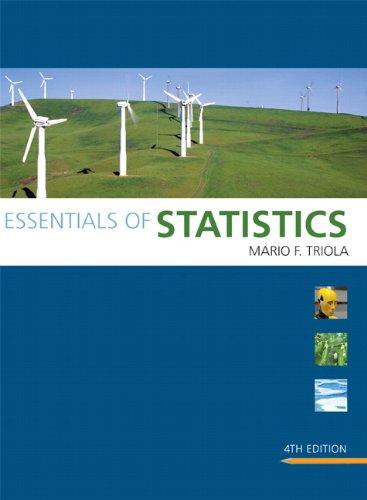 Essentials of statistics 4th edition: mario f. Triola.