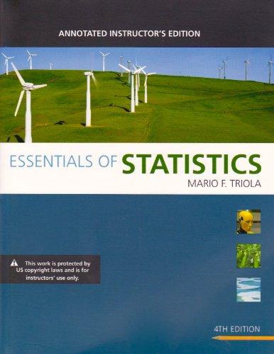 ESSENTIALS OF STATISTICS-W/CD: Triola, Mario F.