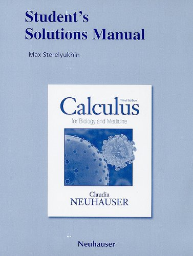 9780321644923: Student's Solutions Manual for Calculus for Biology and Medicine