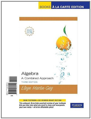 9780321646101: Algebra: A Combined Approach, Books a la Carte Edition (3rd Edition)