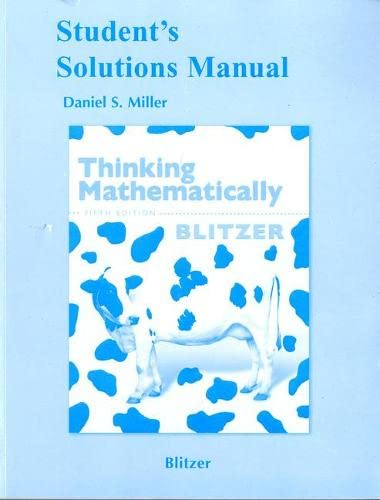 9780321646378: Student's Solutions Manual for Thinking Mathematically, 5th Edition
