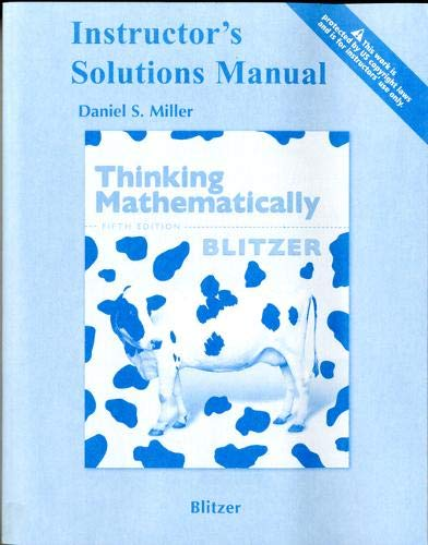 9780321646385: Instructor's Solutions Manual for THINKING MATHEMATICALLY by Blitzer