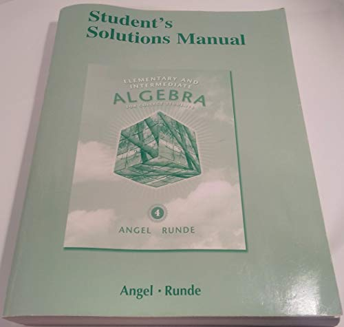 9780321652386: Student Solutions Manual for Elementary & Intermediate Algebra for College Students