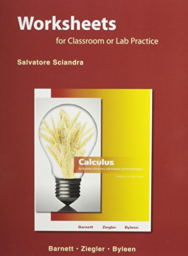 9780321653987: Student Worksheets for Calculus for Business, Economics, Life Sciences, and Social Sciences