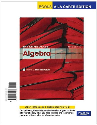 9780321654472: Intermediate Algebra, Books a la Carte Edition (11th Edition)