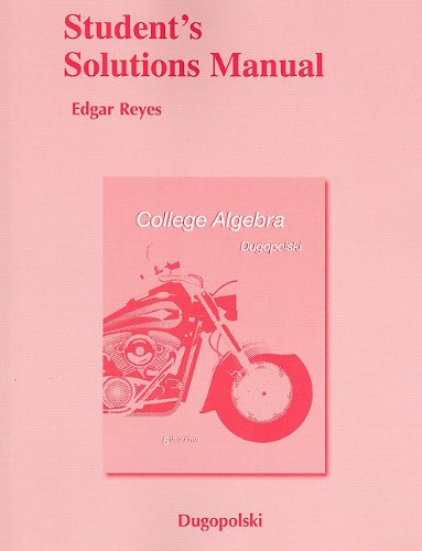 9780321655349: Student Solutions Manual for College Algebra, 5th Edition