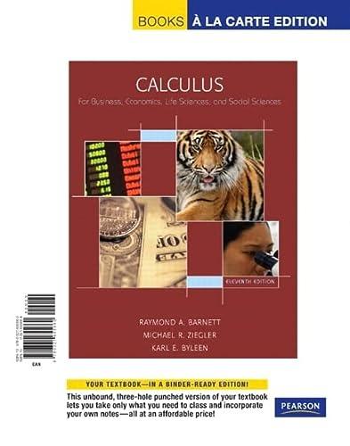 9780321655660: Calculus for Business, Economics, Life Sciences & Social Sciences, Books a la Carte Edition (11th Edition)