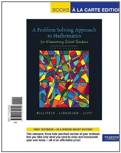 9780321655899: Problem Solving Approach to Mathematics for Elementary School Teachers, A, Books a la Carte Edition (10th Edition)