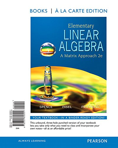 9780321656001: Elementary Linear Algebra: A Matrix Approach, Books a la Carte Edition (2nd Edition)