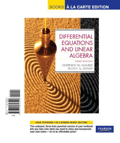 9780321656520: Differential Equations and Linear Algebra, Books a la Carte Edition (3rd Edition)