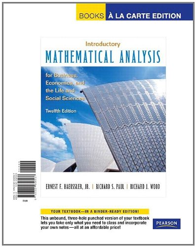 9780321656537: Intro Math Analysis for Business, Economics, and the Life and Social Sciences, Books a la Carte Edition (12th Edition)