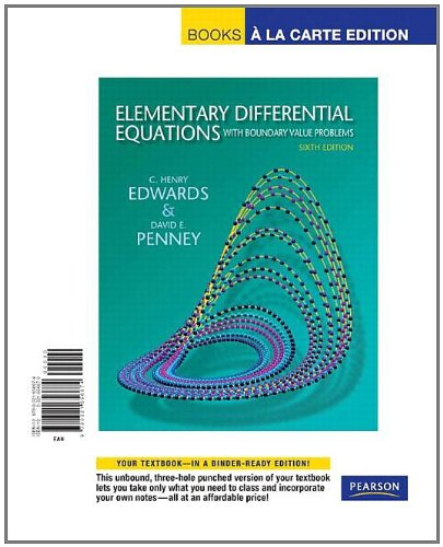 9780321656674: Elementary Differential Equations with Boundary Value Problems, Books a la Carte Edition (6th Edition)