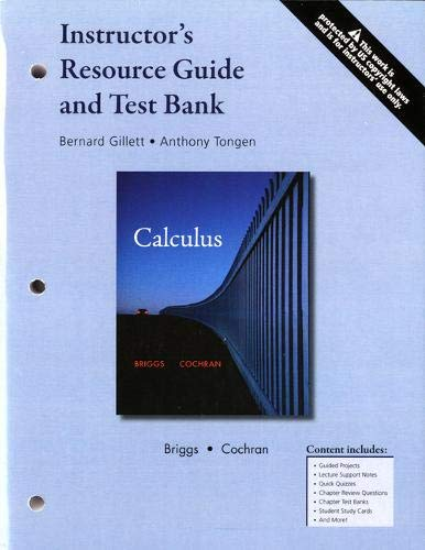 9780321665263: INSTRUCTOR'S RESOURCE GUIDE AND TEST BANK: CALCULUS EARLY TRANSCENDENTALS