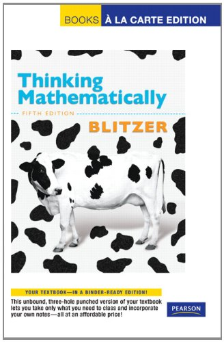 9780321691125: Thinking Mathematically, Books a la Carte Edition (5th Edition)