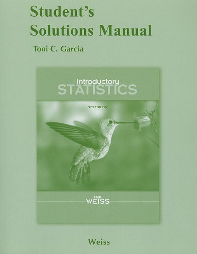 Student Solutions Manual for Introductory Statistics: Neil A. Weiss