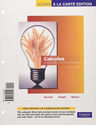 9780321692450: Calculus for Business, Economics, Life Sciences and Social Sciences, Books a la Carte Edition (12th Edition)