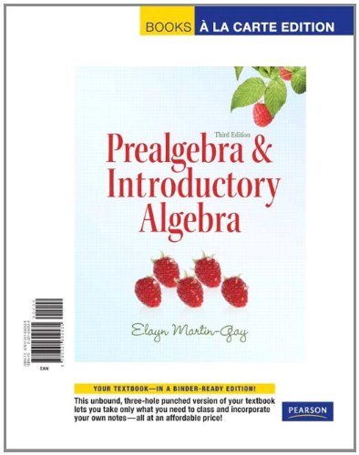 9780321692535: Prealgebra & Introductory Algebra, Books a la Carte Edition (3rd Edition)