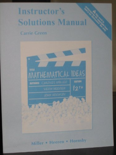 9780321694058: Mathematical Ideas, Instructor's Solution Manual