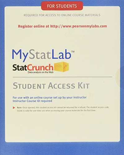 MyStatLab Student Access Kit (Standalone) Format: PrintedAccessCode: Pearson