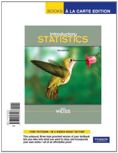 9780321697943: Introductory Statistics, Books a la Carte Edition (9th Edition)