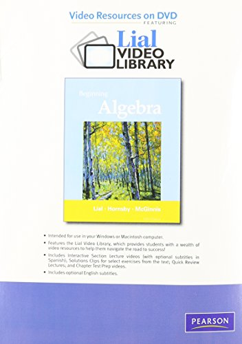 9780321702463: Video Resources on DVD with Chapter Test Prep for Beginning Algebra