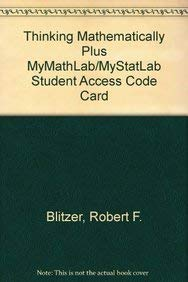 9780321645852 thinking mathematically fifth edition abebooks 9780321709004 thinking mathematically plus mymathlabmystatlab student access code card 5th edition fandeluxe Choice Image