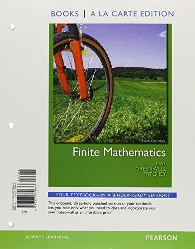 9780321709653: Finite Mathematics, Books a la Carte Edition (10th Edition)