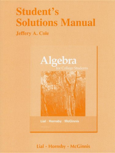 Student's Solutions Manual for Algebra for College: Margaret L. Lial,