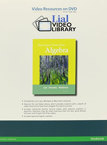 9780321715722: Video Resources on DVD with Chapter Test Prep for Beginning and Intermediate Algebra
