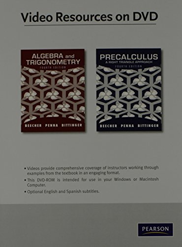 9780321725653: Video Lectures on DVD with Optional Subtitles for Algebra and Trigonometry/Precalculus: A Right Triangle Approach