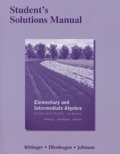 9780321726605: Student's Solutions Manual for Elementary and Intermediate Algebra: Graphs and Models