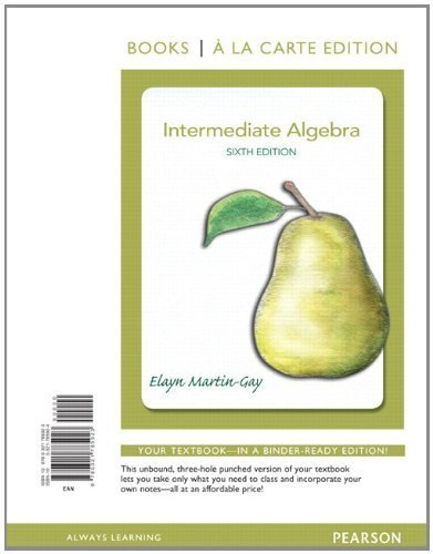 9780321729460: Intermediate Algebra, Books a la Carte Edition Plus NEW MyMathLab with Pearson eText -- Access Card Package (6th Edition)